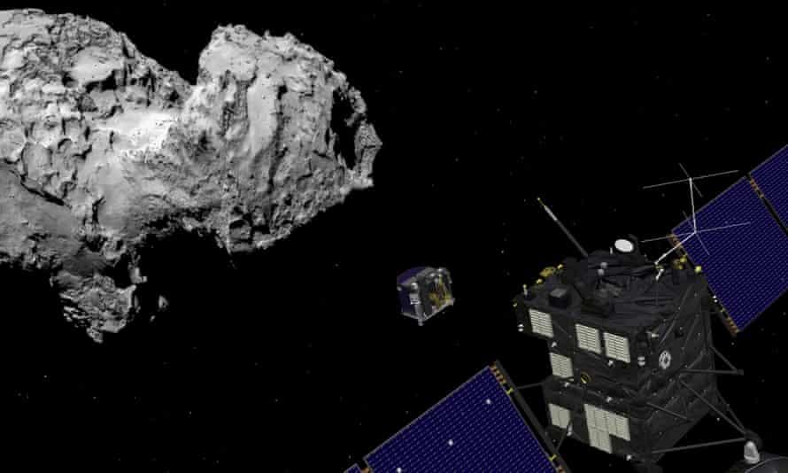 Artists impression of the Rosetta orbiter deploying the Philae lander to comet 67P/Churyumov Gerasimenko.