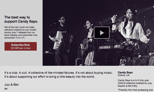Candy Says is one of the first bands to test Bandcamp's subscription feature.