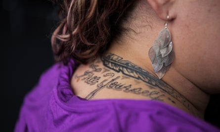 Erica's tattoo covers up the 'Sin City' tag she had been given by gang members