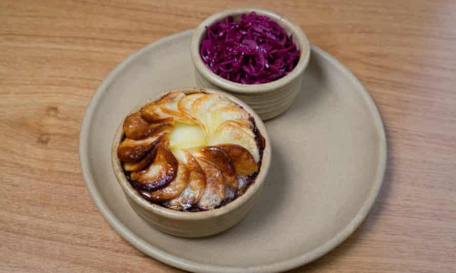 Lancashire hotpot in a round baking dish