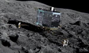 Artist's impression of Rosetta's lander Philae on the surface of comet 67P/Churyumov-Gerasimenko. Follow the deployment and landing attempt on this liveblog.