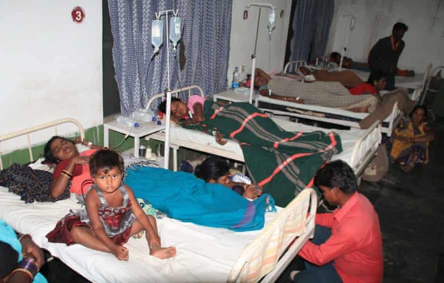 Victims lie on hospital beds in Bilaspur, Chattisgarh