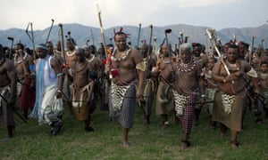 Swaziland's King Mswati III at a traditional reed dance ceremony. The king has been criticised for his  extravagant lifestyle amid vast poverty in his country.