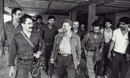 Yasser Arafat in Beirut during the early days of the 1982 Israeli invasion of Lebanon.