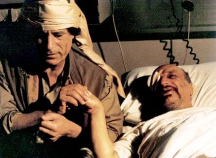 Colonel Gaddafi visiting Yasser Arafat in hospital after his air crash in Libya in 1992.