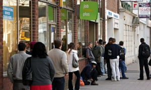People queue outside a jobcentre in London in 2009.