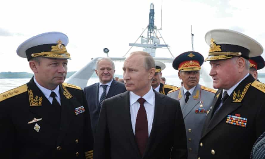 Vladimir Putin with admirals on Russia's Navy Day