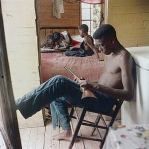 Willie Causey, Jr., with Gun During Violence in Alabama, Shady Grove, Alabama, 1956.