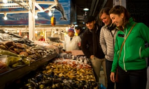 shopping for seafood at the Chiloé Island market