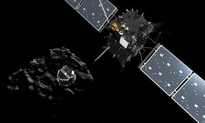 A handout artist impression showing lander Philae separating from the Rosetta spacecraft and descending to the surface of comet 67P/Churyumov-Gerasimenko.