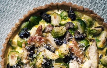 Brussels sprout, chestnut and turkey tart