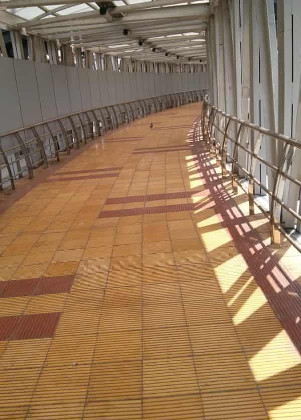 The empty Grant Road skywalk.