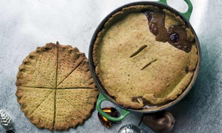 Beef and Stilton pie with herb Stilton shortbread crust