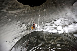 For the first time, scientists used climbing equipment to reach the base of the crater