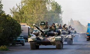 Azerbaijani tanks in the Agdam district of Nagorno-Karabakh in August. The area was also the scene o