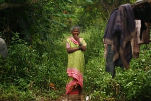 Kusum, resident of Chuna Pada; leopards crouch in the vegetation just next to her house.