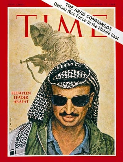 Yasser Arafat's first appearance on the cover of Time magazine, in 1968