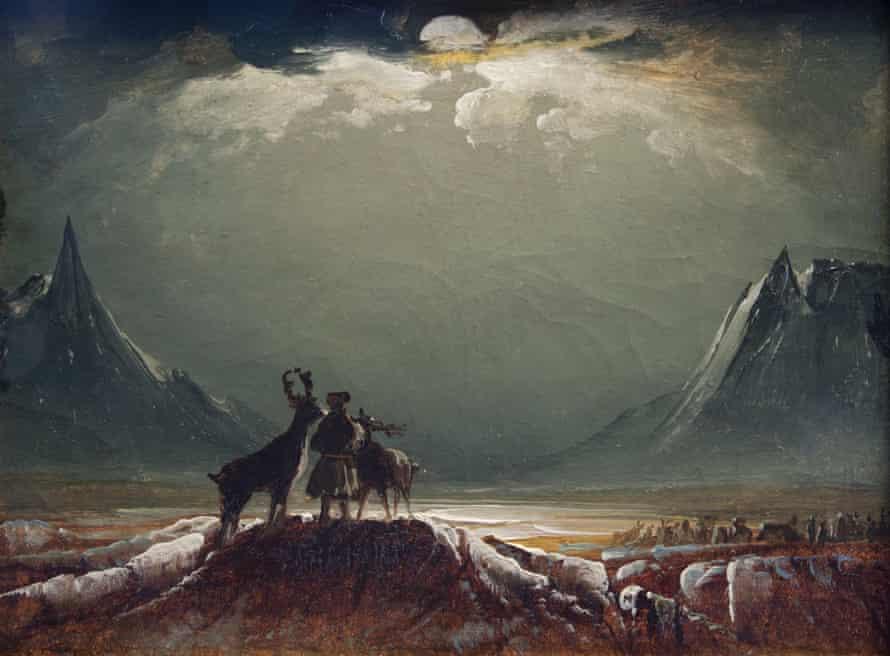 Sami with Reindeer Under the Midnight Sun by Peder Balke