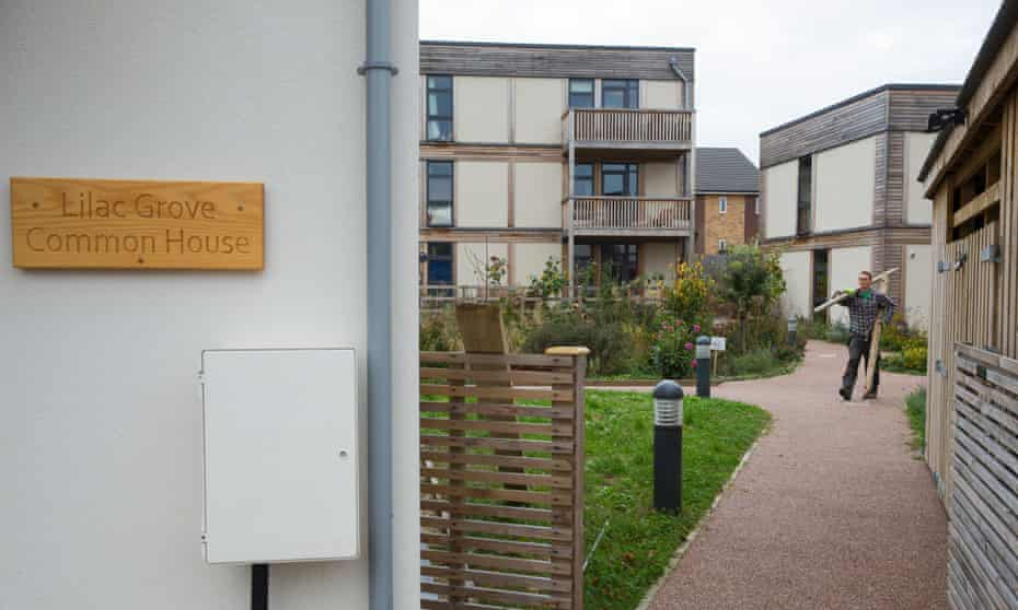 Lilac Grove residents share the workload of maintaining the communal gardens, allotments, a laundry, workshop and the common house, where residents cook and eat together twice a week.