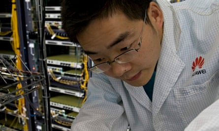 Shenzhen, Guangdong: an R&D engineer works on equipment maintenance at Huawei Technologies Co.