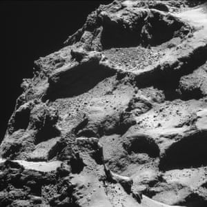From a distance of about 7.8 km (4.8 miles) from the surface, of the comet 67P/Churyumov-Gerasimenko