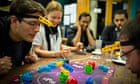 Punters at Thirsty Meeples board game cafe, Oxford, play Lift It.