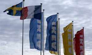 Ikea flags fly at the entrance of an IKEA store in Plaisir, west of Paris.