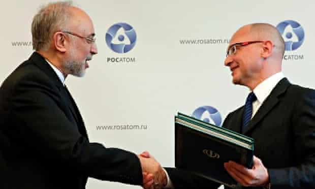Ali Akbar Salehi, of Iran's Atomic Energy Organisation, and Sergey Kirienko, of Russia's Rosatom