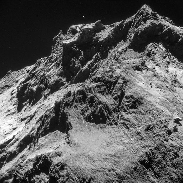 Rosetta took this picture 10 km above the 'body' of Comet 67P/Churyumov-Gerasimenko as it descended towards its landing site