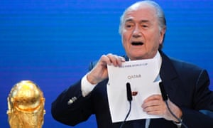 Sepp Blatter announces Qatar to host the 2022  World Cup.