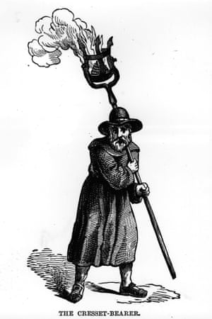 A watchman carrying a cresset, filled with burning oil or pitch, circa 1550.