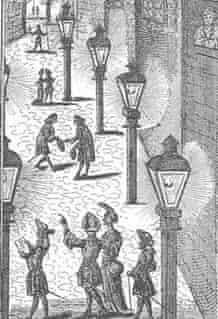 An etching of street lighting in Leipzig