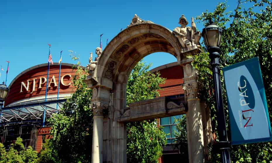 The neo-Romanesque archway entrance to the New Jersey Performing Arts Center