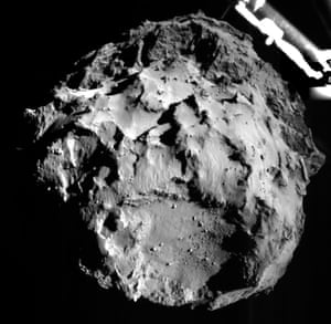 A picture acquired by the ROLIS (ROsetta Lander Imaging System) instrument on the Philae lander, showing the comet 67P/Churyumov-Gerasimenko during Philae's descent from a distance of approximately 3 km from the surface.