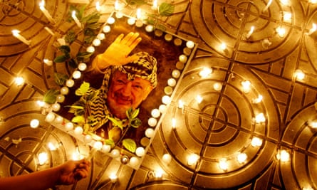 A makeshift shrine for Yasser Arafat days before his death in 2004.