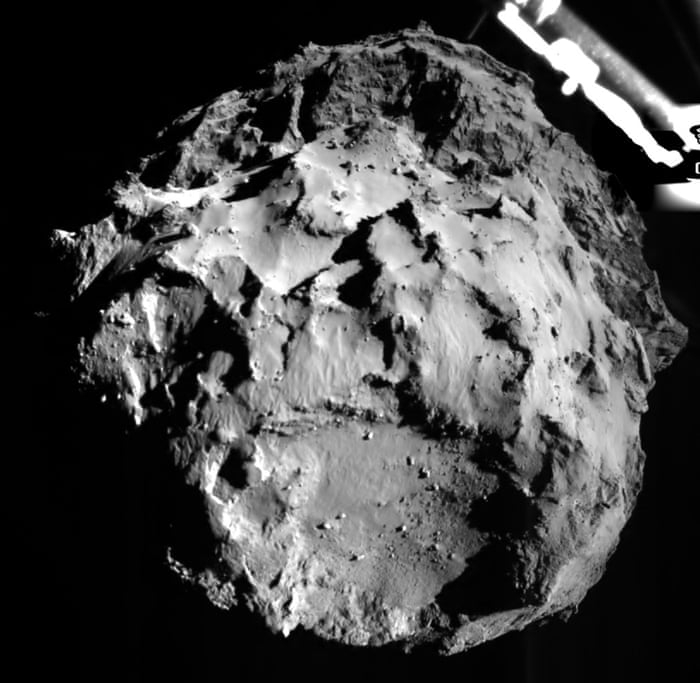 A camera on Philae shows the comet during the lander's descent , from a distance of approximately three kilometres. The landing site is imaged with a resolution of about three metres per pixel. In the upper right corner a segment of the Philae landing gear is visible.