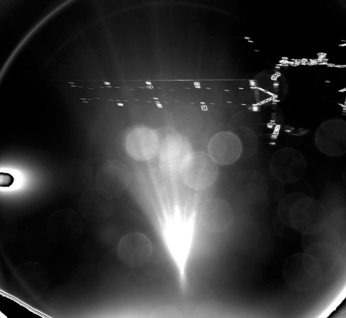 This image taken with the lander's CIVA-P imaging system shortly after release captures one of Rosetta's 14 metre-long solar arrays.