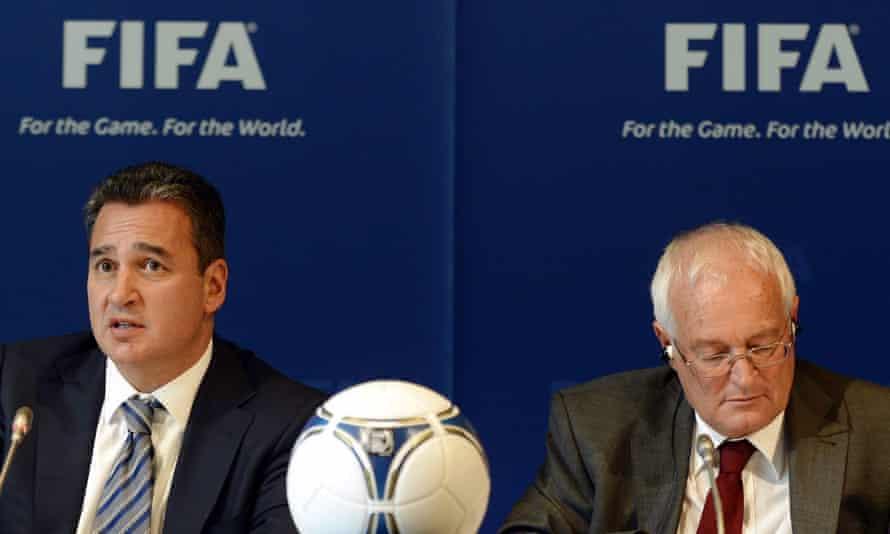Investigator Michael Garcia, left, and judge Hans-Joachim Eckert, pictured in Zurich in 2012.