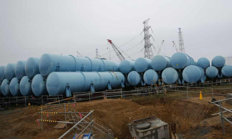 Some of the 1,000 water tanks being used to store contaminated water at the Fukushima Daiichi site.