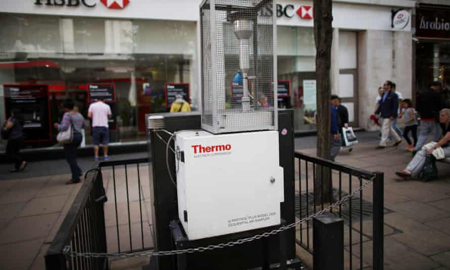 A device for measuring air quality is located in Oxford Street on July 9, 2014 in London, England. Researchers from King's College London have found that concentrations of nitrogen dioxide in Oxford Street are the worst on earth.