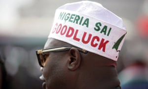 A supporter of the Nigerian president attends a rally at Eagle Square in Abuja.