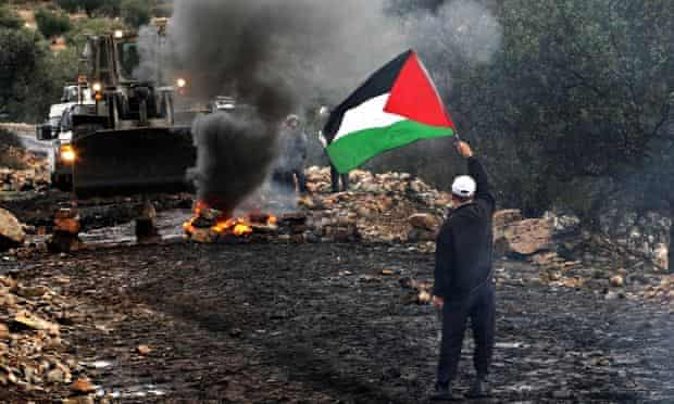 Palestinian flag protest