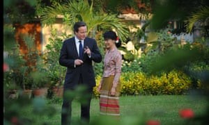 UK PM David Cameron with democracy icon Aung San Suu Kyi, who has been campaigning to change the constitution to limit the military's power