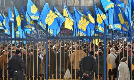 Activists of far-right Ukrainian Svoboda party at a rally in October 2014