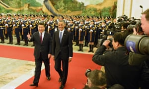 12 Nov 2014, Beijing, China --- (141112) -- BEIJING, Nov. 12, 2014 (Xinhua) -- Chinese President Xi Jinping (L) holds a welcoming ceremony for U.S. President Barack Obama at the Great Hall of the People in Beijing, capital of China, Nov. 12, 2014. (Xinhua/Liu Jiansheng) (lfj) --- Image by   Liu Jiansheng/Xinhua Press/CorbisAsiaBeijingChinaEast Asia