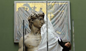 Johanna Puisto, sculpture conservator at the Victoria and Albert Museum, unveils the David statue