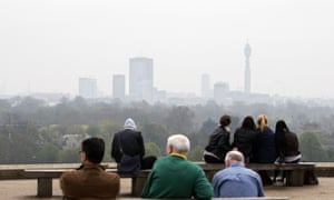 The smoggy view from Primrose Hill, April 3, 2014.