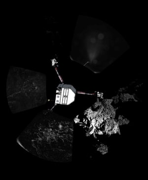 Using the panoramic image series just posted on this blog, the lander team have superimposed a sketch showing their best guess for the orientation of the craft relative to its surroundings.