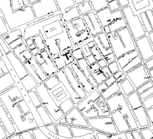 Dr John Snow's cholera map of Soho showing the relationship between the disease outbreak and one particular water pump, at the corner of Broad and Cambridge Streets.