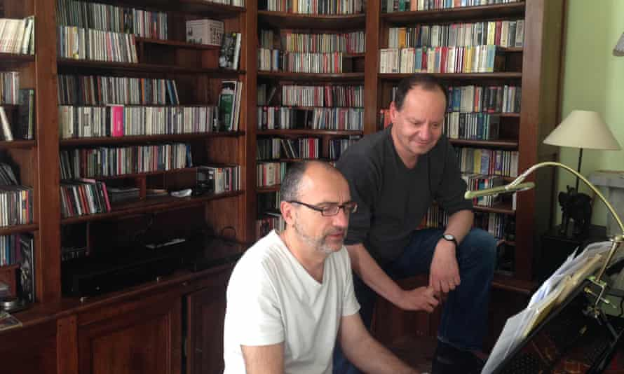 Philippe Sands (right) and Laurent Naouri during rehearsals, Paris, May 2014.